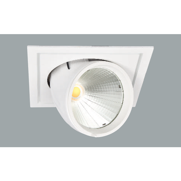 A white flexible led downlight with grey background.