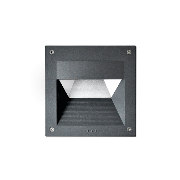 2115 Black and White Outdoor Recessed Wall Light with 12W on a white background