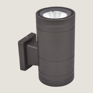 A black outdoor wall lighting with grey background.