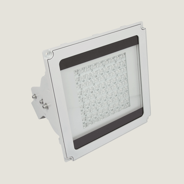 A white outdoor ceiling light with a grey background.