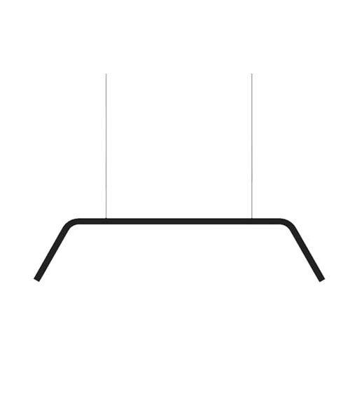 A black modern pendant light on a white background.