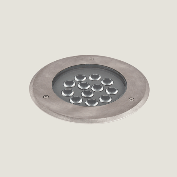 A midi aluminium outdoor floor light on a grey background.