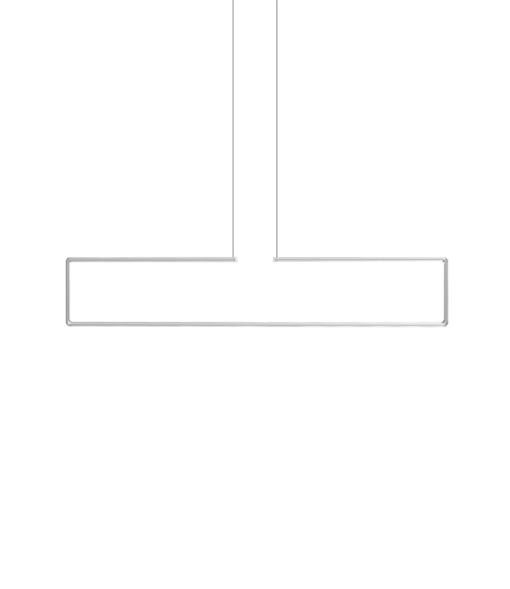 A grey horizontal frame pendant light on a white background.