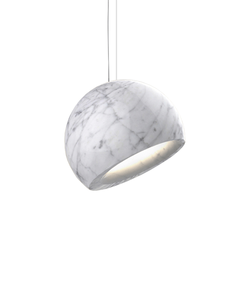 A marble spheric pendant light on a white background.