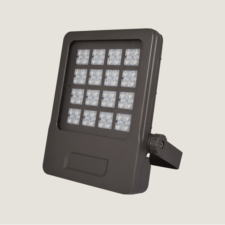 A black outdoor spotlight with brackets and grey background.