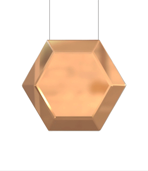 A modern pendant light made in bronze on a white background.