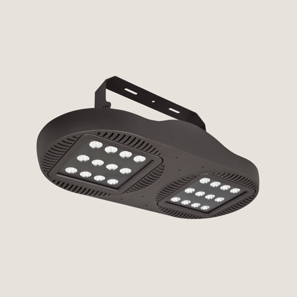 A double black outdoor ceiling light with a white background.