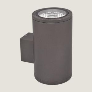 A single black outdoor wall lighting with grey background.