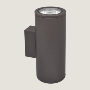 A double black outdoor wall lighting with grey background.