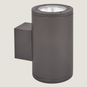 A black cylinder outdoor wall lighting with grey background.