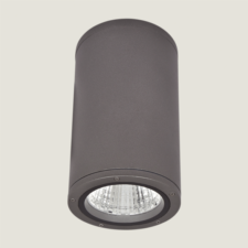 A black outdoor ceiling light with a grey background.