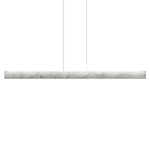 A modern marble pendant light on a white background.