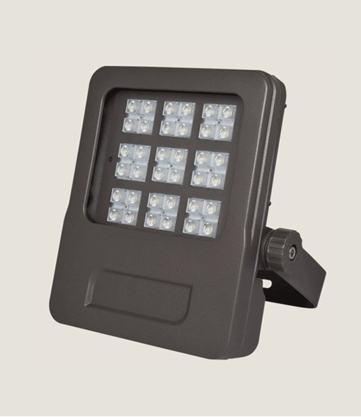 A black mini outdoor spotlight with brackets and grey background.