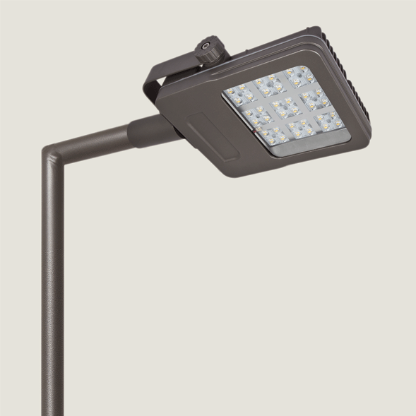 A black mini urban lighting with grey background.