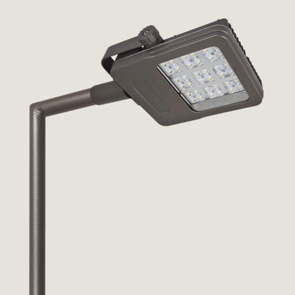A black mini urban lighting with grey background.
