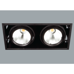 A black mini rectangular double led downlight with grey background.