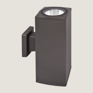 A square black outdoor wall lighting with grey background.