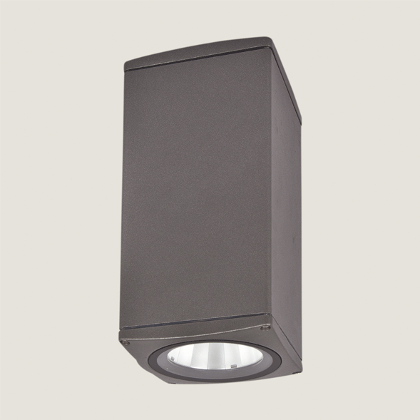 A black outdoor ceiling light with a white background.