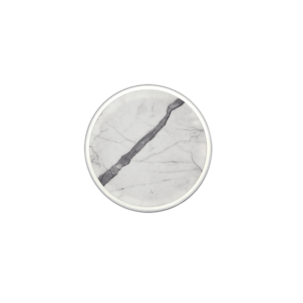 Wall sconce made of Carrara marble with an aluminium ring on a white background