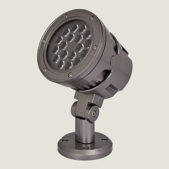 A midi black outdoor spotlight with a grey background.