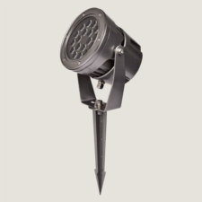 A black midi outdoor spotlight with a spike accessory on a grey background.