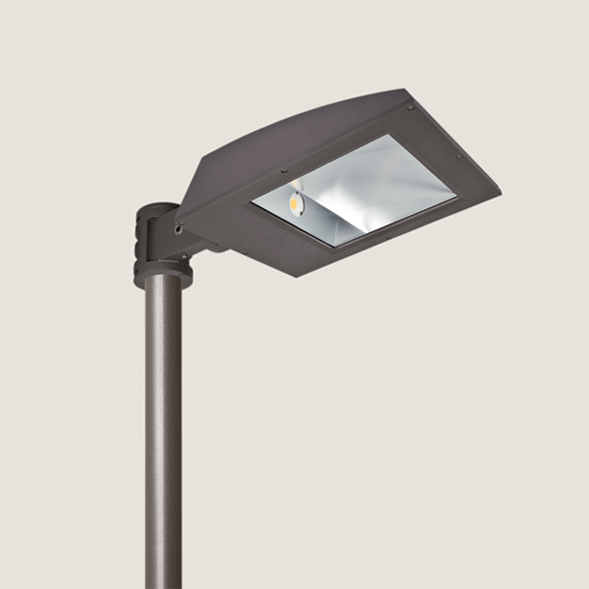 A black single urban lighting with grey background.