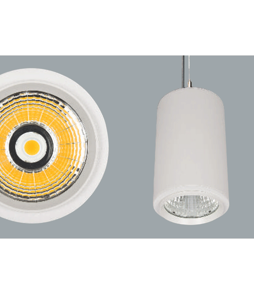 A large white cylinder pendant light on a grey background.