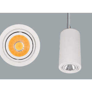 A white cylinder pendant light on a grey background.
