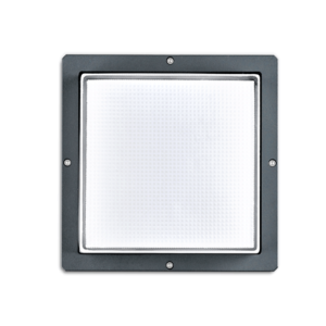 A black square outdoor ceiling light with 4 screws and white background.