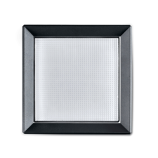 A black square ceiling light on a white background.