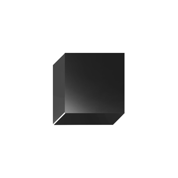 Single mounted black wall light on a white background