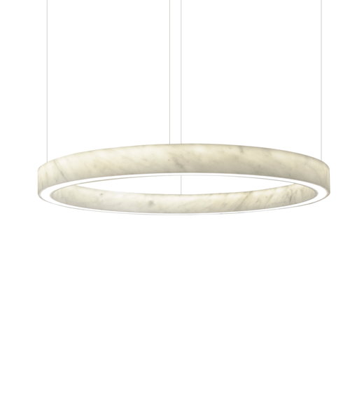 A marble circle pendant light on white background.