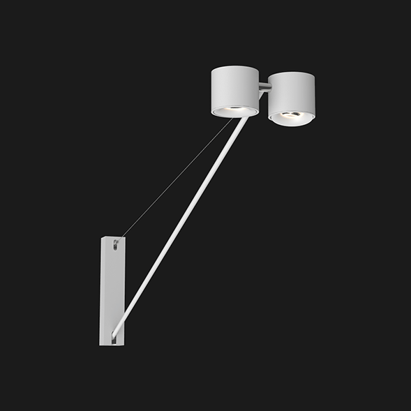 White wall light with 2 heads on a black background