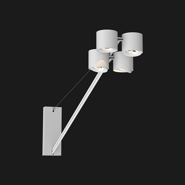 White wall lights with 4 heads on a black background