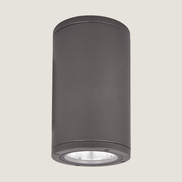 A black outdoor ceiling light with grey background.
