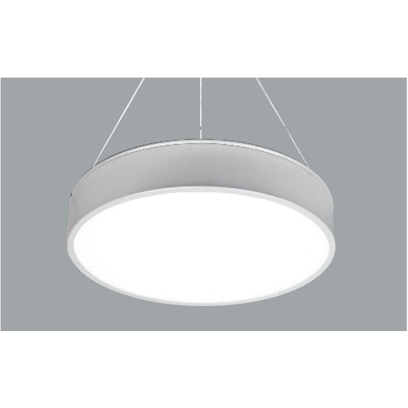 An aluminium round pendant light with grey background.