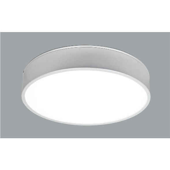 A grey round ceiling light with a grey background.