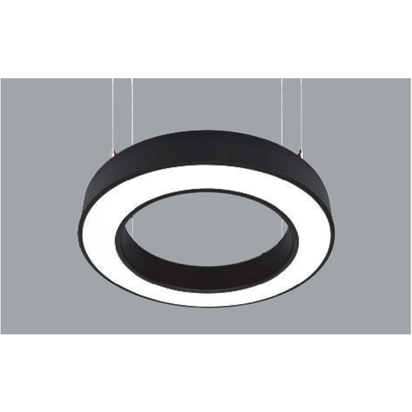 A white and black round pendant light with a grey background.