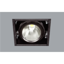 A single black led downlight with grey background