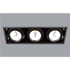 A triple black led downlight with a grey background