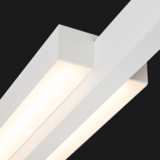 A white double linear LED on a black background.