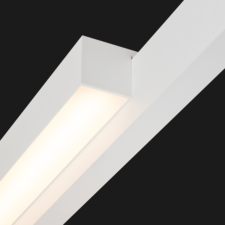 A white single linear led on a black background.