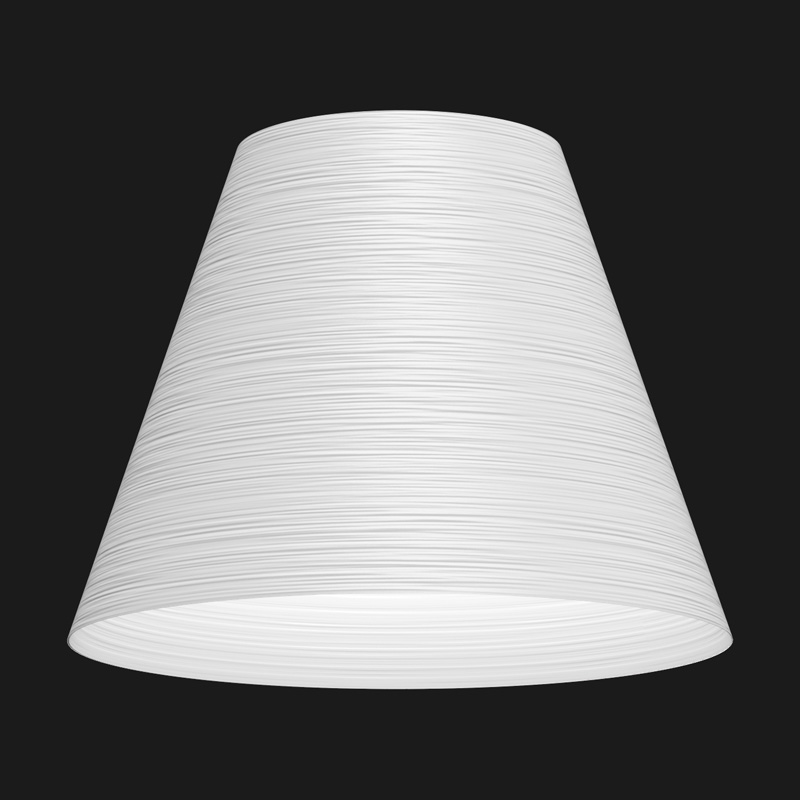 A white cone textured pendant light on a black background.
