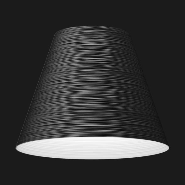 A black and white cone textured pendant light on a black background.