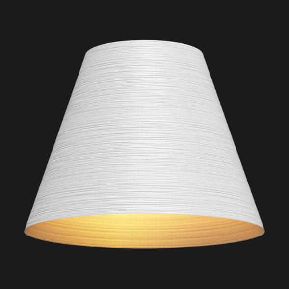 A white and gold cone textured pendant light on a black background.