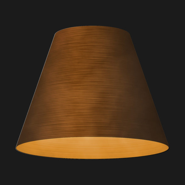 A corten cone textured pendant light on a black background.