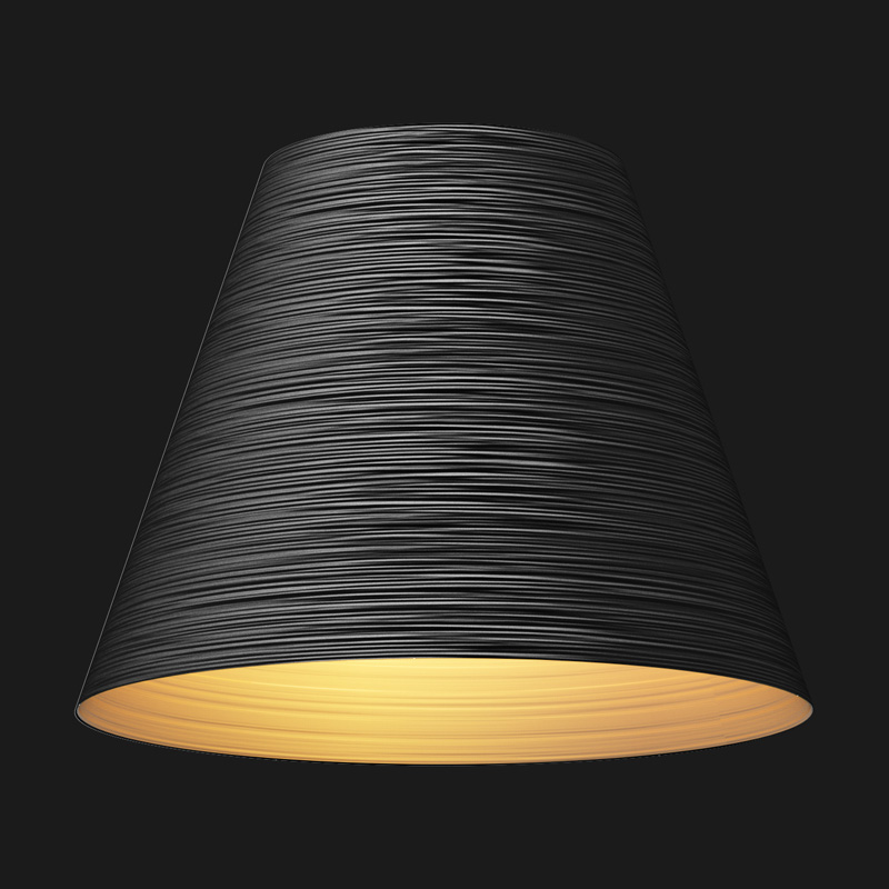 A black and gold cone textured pendant light on a black background.