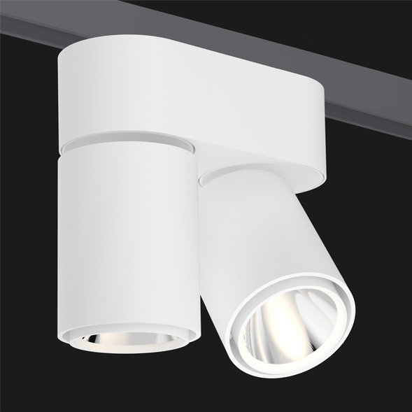 A double white track lights with a black background.