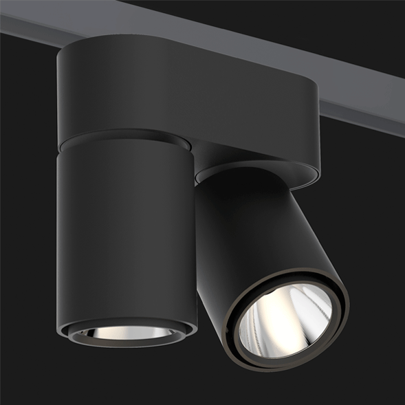 A double black track lights with a black background.