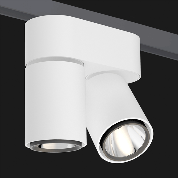 A double black and white track lights with a black background.